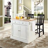 Crosley Oxford Butcher Block Top Kitchen Island with Stools in White