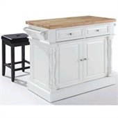 Crosley Oxford Butcher Block Kitchen Island with Stools in White