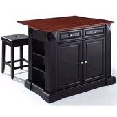 Crosley Coventry Drop Leaf Breakfast Bar Kitchen Island with Stools in Black