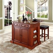 Crosley Coventry Drop Leaf Breakfast Bar Kitchen Island with Stools in Cherry