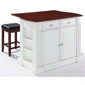Crosley Coventry Drop Leaf Breakfast Bar Kitchen Island with Stools in White