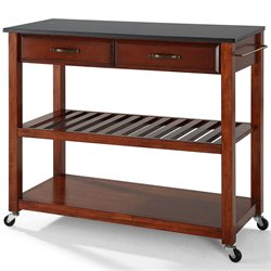 Crosley Kitchen Cart Island Solid Black Granite in Classic Cherry