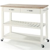 Crosley Kitchen Cart Island Natural Wood in White