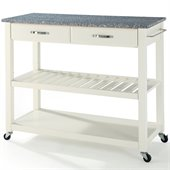 Crosley Kitchen Cart Island Solid Granite Top in White