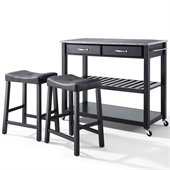 Crosley Solid Granite Top Kitchen Cart/Island with Stools in Black