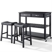 Crosley Solid Black Granite Top Kitchen Cart/Island with Stools in Black