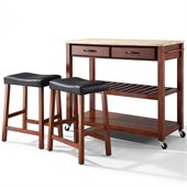 Crosley Natural Wood Top Kitchen Cart/Island with Stools in Classic Cherry