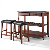 Crosley Solid Granite Top Kitchen Cart/Island with Stools in Classic Cherry