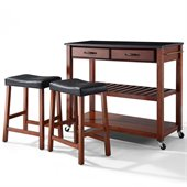 Crosley Solid Black Granite Top Kitchen Cart/Island with Stools in Classic Cherry