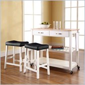 Crosley Natural Wood Top Kitchen Cart/Island with Stools in White