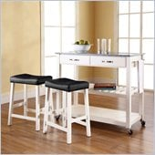 Crosley Solid Granite Top Kitchen Cart/Island with Stools in White