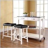 Crosley Solid Black Granite Top Kitchen Cart/Island with Stools in White