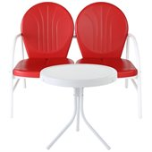 Crosley Griffith 2 Metal Outdoor Seating Set in Red