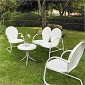 Crosley Griffith 4 Metal Outdoor Seating Set in White