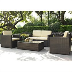 Crosley Furniture Palm Harbor 4 Piece Outdoor Wicker Sofa Set