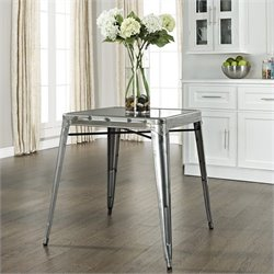 Crosley Furniture Amelia Metal Cafe Dining Table in Galvanized