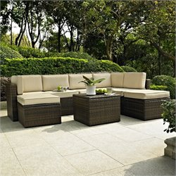 Crosley Furniture Palm Harbor 8 Piece Outdoor Wicker Seating Set