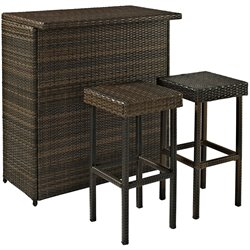 Crosley Furniture Palm Harbor 3 Piece Outdoor Wicker Bar Set