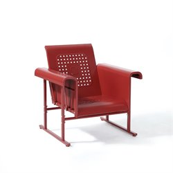 Crosley Furniture Veranda Single Glider Chair in Coral Red