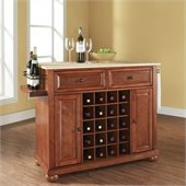 Alexandria Natural Wood Top Wine Island in Classic Cherry