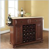 Alexandria Natural Wood Top Wine Island in Vintage Mahogany