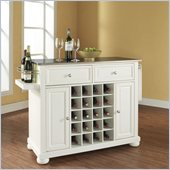 Crosley Furniture Alexandria Stainless Steel Wine Island in White