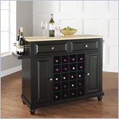 Crosley Furniture Cambridge Natural Wood Top Wine Island in Black