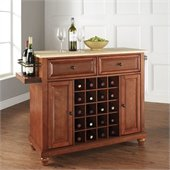 Cambridge Natural Wood Top Wine Island in Classic Cherry