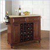 Cambridge Natural Wood Top Wine Island in Vintage Mahogany
