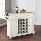 Crosley Furniture Cambridge Natural Wood Top Wine Island in White