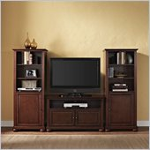 Alexandria 42 TV Stand and 2 60 Audio Piers in Vintage Mahogany