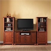 Alexandria 48 TV Stand and 2 60 Audio Piers in Classic Cherry