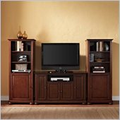 Alexandria 48 TV Stand and 2 60 Audio Piers in Vintage Mahogany