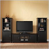 Alexandria 60 Low Profile TV Stand and 2 60 Audio Piers in Black