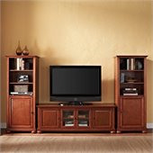 Alexandria 60 Low Profile TV Stand and 2 60 Audio Piers in Cherry
