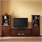 Alexandria 60 Low Profile TV Stand and 2 60 Audio Piers in Mahogany