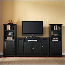 Alexandria 60 TV Stand and Two 60 Audio Piers in Black