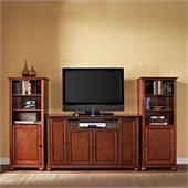 Alexandria 60 TV Stand and 2 60 Audio Piers in Classic Cherry