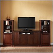 Alexandria 60 TV Stand and 2 60 Audio Piers in Vintage Mahogany