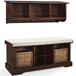 Crosley Brennan 2 Piece Entryway Bench and Shelf Set in Mahogany