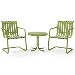 Gracie 3 Piece Metal Outdoor Conversation Seating Set in Oasis Green