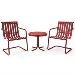 Gracie 3 Piece Metal Outdoor Conversation Seating Set in Coral Red