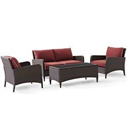 Kiawah 4 Piece Outdoor Wicker Seating Set with  Loveseat and Glass Top Table