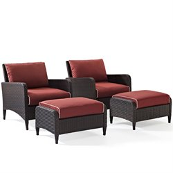 Crosley Kiawah 4 Piece Outdoor Wicker Seating Set with Two Ottomans