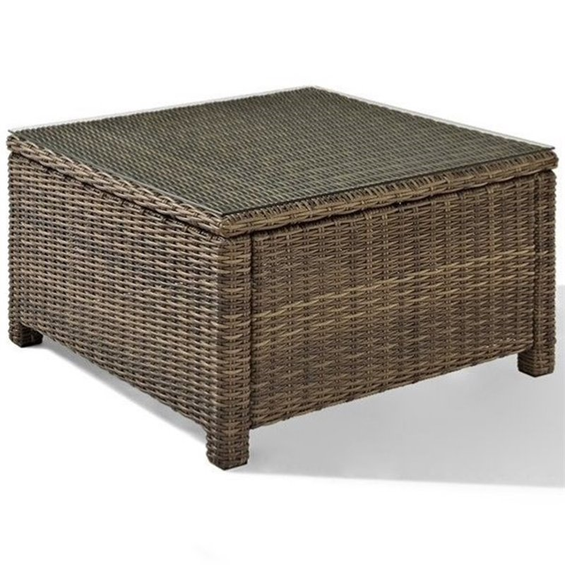 Bradenton Outdoor Wicker Sectional Glass Top Coffee Table 501398