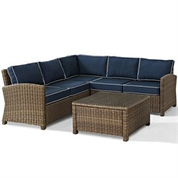Biltmore 4 Piece Outdoor Wicker Seating Set with Navy Cushions and Corner Chair