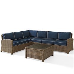 Crosley Biltmore 5 Piece Outdoor Wicker Seating Set with Navy Cushions and Center Chair