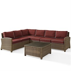 Crosley Biltmore 5 Piece Outdoor Wicker Seating Set with Sangria Cushions and Center Chair