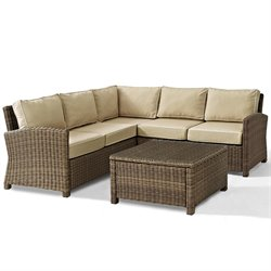Crosley Biltmore 4 Piece Outdoor Wicker Seating Set with Sand Cushions and Corner Chair