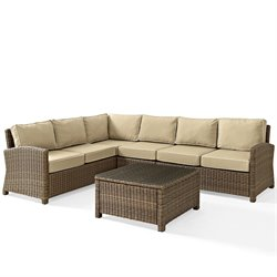 Crosley Biltmore 5 Piece Outdoor Wicker Seating Set with Sand Cushions and Centre Chair